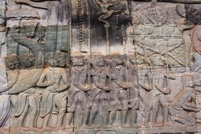 Reliefs on the wall of the temple Angkor Wat