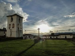 photo of the church against the background of dawn in Peru