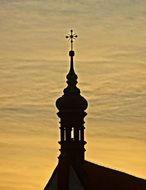 silhouette of cathedral in bydgoszcz at sunset