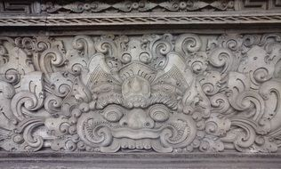 carving on the wall of the temple in indonesia