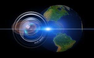 lens camera earth globe usa