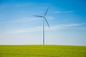 wind turbine among the bright green field