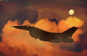 air plane fighter night sky moon