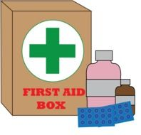 drawing of a first aid box