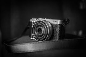 camera as vintage in black and white image