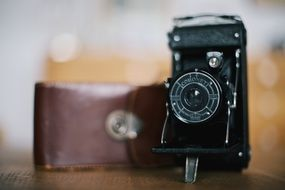 Vintage camera is in retro style