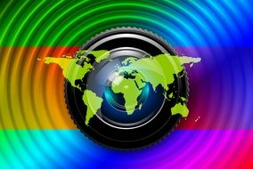 colorful lens of camera with continents