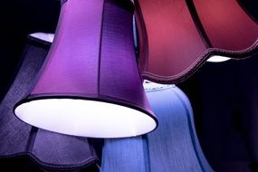 lamps in multi-colored lamp shades