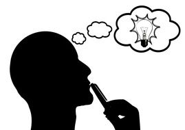 Clipart of man who is thinking about light bulb