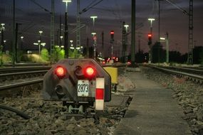 signal lamps on the railway at night