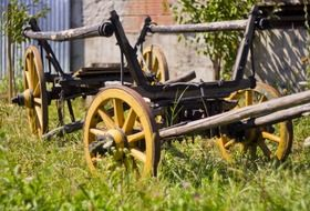 Old carriage on grass