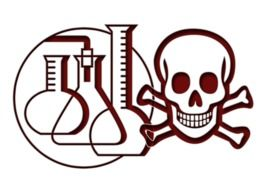 painted skull with crossbones and laboratory equipment