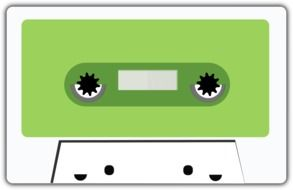 white cassette with green square