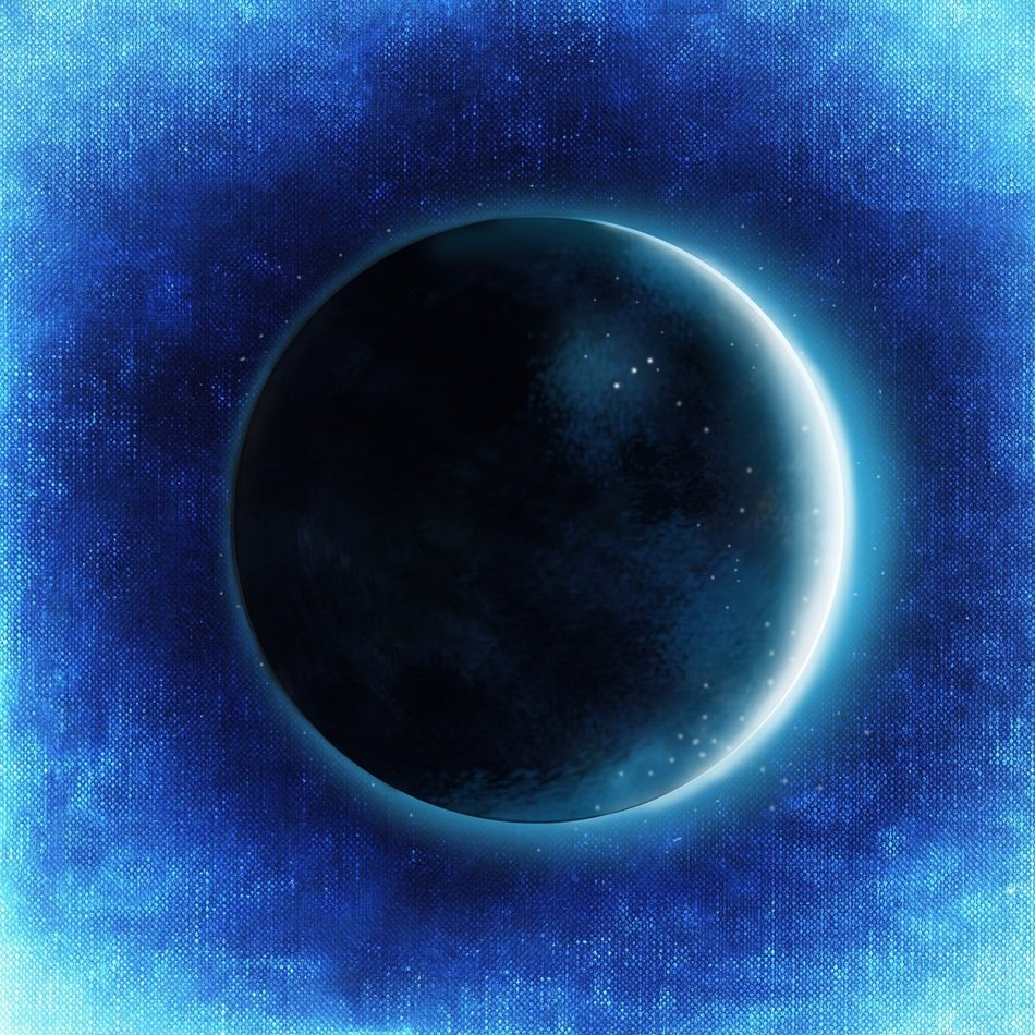 fantasy image of a blue lunar eclipse