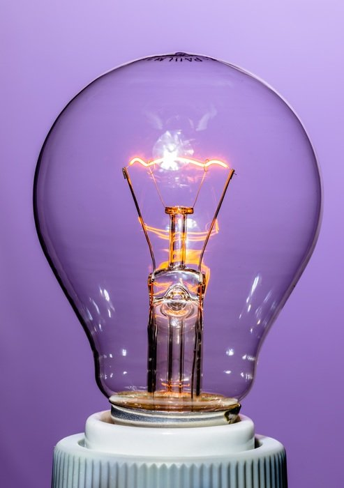 Powerful incandescent lamp purple