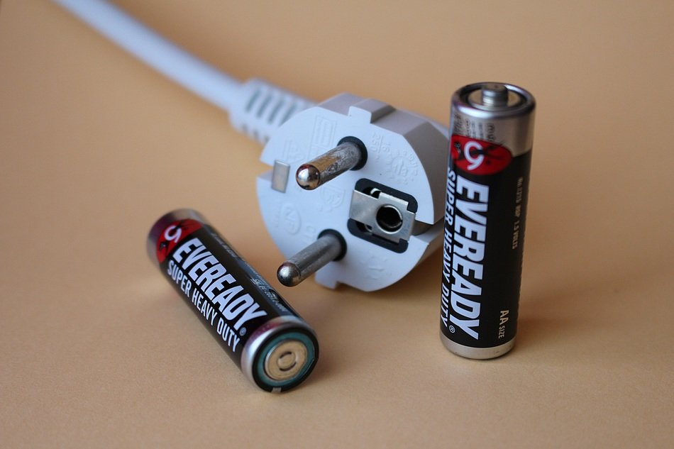 two batteries and electric wire