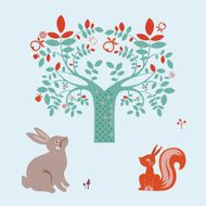 Cute animals and fantasy tree