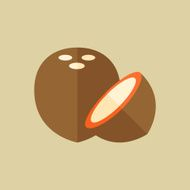 Coconut Food Flat Icon