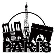Paris City Skyline Silhouette Circle Black and White Vector Illustration