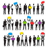 Vector of Business People in Different Actions with Speech Bubble