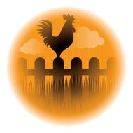 crowing rooster silhouette