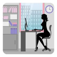 Silhouette business woman working in office Vector N2