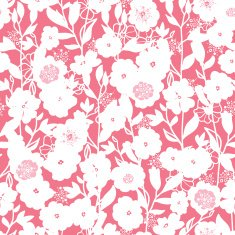 White and pink blossoms seamless pattern background