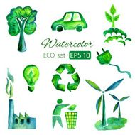 Set of eco green watercolor vector icons