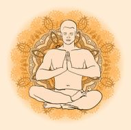 man sitting in the lotus position doing yoga meditation N2