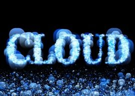 font in the form of a cloud on a dark background