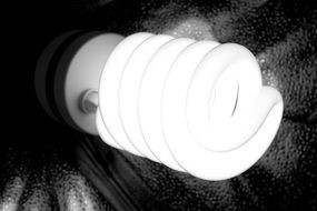 spiral Luminescent lamp, side view, black and white