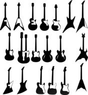 electric guitars instruments on the wall