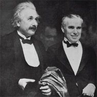 black and white photo of Einstein and Charlie Chaplin