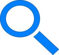 blue magnifying glass on white background