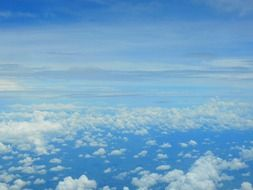 clouds in blue sky, airplane view