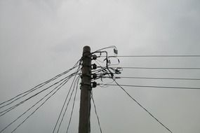 power electrical wires on the pole