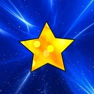 graphic image of a gold star in a blue background