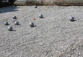 ball game on pebbles