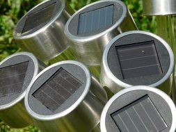 solar panels in the garden