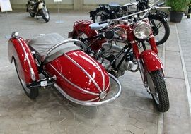 red retro motorcycle
