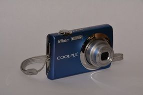 portable blue digital photo camera nikon