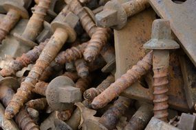 Rusted iron screws