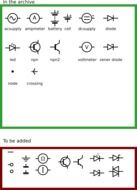 drawn symbols of electronics