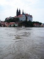 high water on the Elbe in Meissen