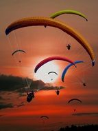 paragliding red sunset