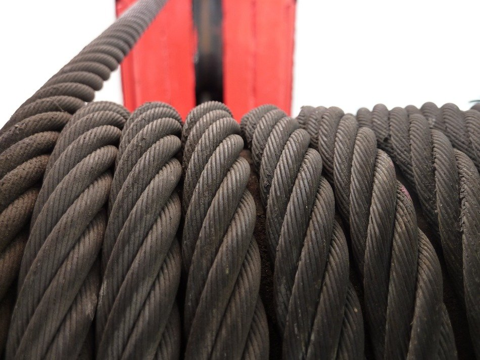 steel cable on the winch