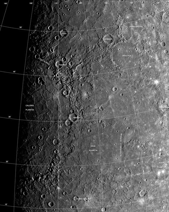 mercury planet surface crater