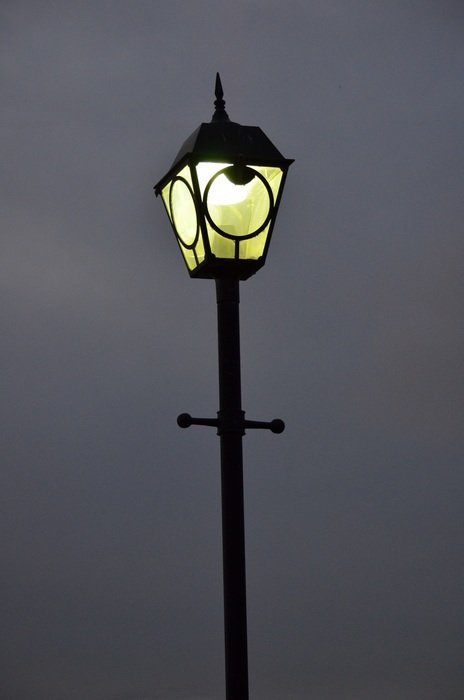 vintage street lantern at night