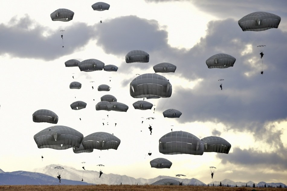 military paratroopers on exercises