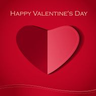 Red paper heart Valentines day card N13